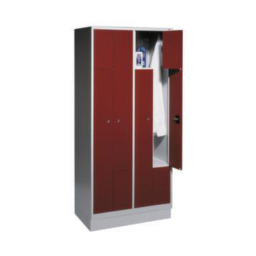 Z-Garderobe,4 Abt.,HxBxT 1820x820x510mm,Korpus RAL7035,Front RAL5010