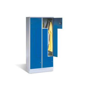Z-Garderobe,4 Abt.,HxBxT 1820x820x510mm,Korpus RAL5012,Front RAL5010